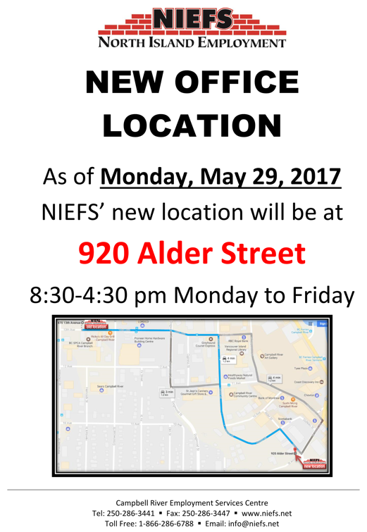 NIEFS Campbell River office is moving to 920 Alder Street on May 29